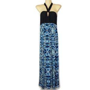 Soma Maxi Dress Halter Tie Neck Blue Black Small